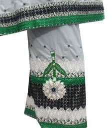 Buy Kromé cloud grey coloured with lace and border work semi stitched rida dress rida online