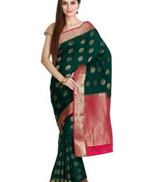Buy Green pure silk mysore crape pure silk saree with blouse silk-saree online