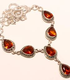 "Buy Golden topaz gemstone 925 silver necklace 16-18"" gemstone-necklace online"