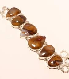"Buy Red plume agate gemstone 925 silver handmade bracelet 7-8"" gemstone-bracelet online"