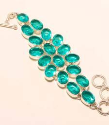 "Buy Afghan tourmaline gemstone 925 silver handmade bracelet 7-8"" gemstone-bracelet online"