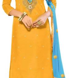 Buy Yellow embroidered chanderi salwar anarkali-salwar-kameez online