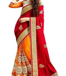 Buy Red embroidered faux georgette saree with blouse designer-embroidered-saree online
