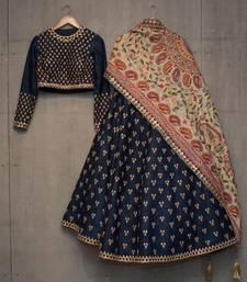 Buy Blue embroidered silk unstitched lehenga ethnic-lehenga online
