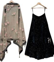 Buy Navy blue embroidered velvet semi stitched lehenga choli with dupatta ghagra-choli online
