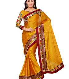 Buy Indian women Yellow Plain Sari with Embroidered Border Raw Silk saree with blouse party-wear-saree online