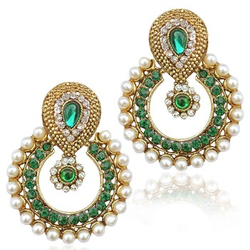 Pearl ethnic green India Pakistan tradition Bollywood jewelry earring