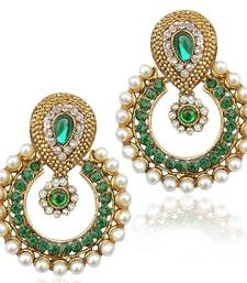 Buy Pearl ethnic green India Pakistan tradition Bollywood jewelry earring danglers-drop online