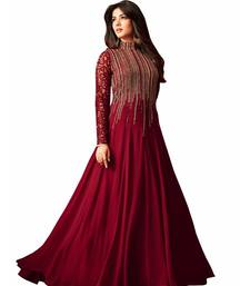 Buy Maroon embroidered georgette salwar dress-material online