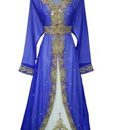 Buy Blue Beads and Stone Work Georgette Hand Stiched Arab Moroccan Jacket Kaftan islamic-kaftan online