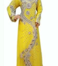 Buy Yellow Beads and Stone Work Georgette Hand Stiched Arab Moroccan Kaftan islamic-kaftan online