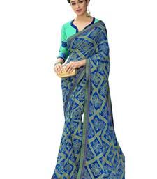 Buy Blue printed brasso saree with blouse brasso-saree online