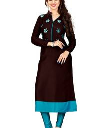 Buy Brown hand woven rayon party wear kurtis party-wear-kurtis online