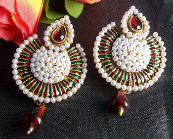 Multi Color leaf Mroon drop Pearl Polki earring