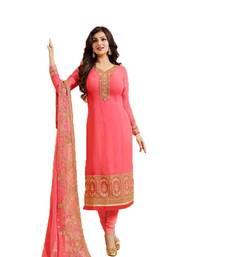 Buy Peach embroidered georgette salwar ayesha-takia-salwar-kameez online