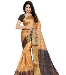 Buy Beige hand woven banarasi silk saree with blouse banarasi-silk-saree online