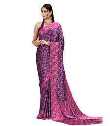 Buy Purple printed crepe saree with blouse crepe-saree online