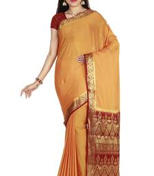 Buy Mustard hand woven art silk saree with blouse south-indian-saree online