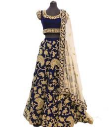 Buy Blue embroidered velvet semi stitched lehenga with dupatta lehenga-choli online