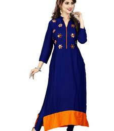 Buy Blue hand woven rayon long-kurtis long-kurtis online