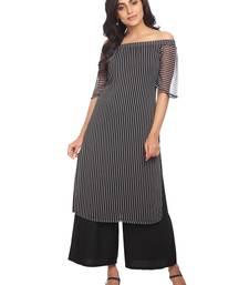 Buy Black printed georgette stitched kurti georgette-kurtis online