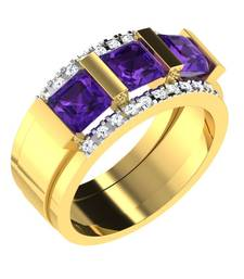 Buy 0.2 Ct Diamond & 2.7 Ct Amethyst Fashion Ring in 9KT Yellow Gold Ring online