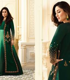 Buy green embroidred Satin Birfi semi stitched salwar with dupatta semi-stitched-salwar-suit online