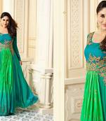 Buy blue embroidred Satin semi stitched salwar with dupatta