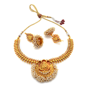 TRADIONAL ANTIQUE GOLDEN HANDMADE THEME NECKLACE SET