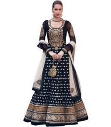 Buy Black embroidered faux georgette salwar with dupatta anarkali-salwar-kameez online