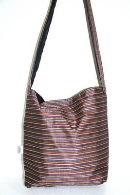 Dark Brown threaded multiple strips unisex jhola bag