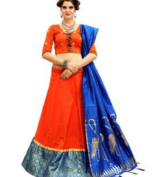 Buy Orange Embroidery Tifi Silk Designer Lehenga Choli With Blouse lehenga-choli online