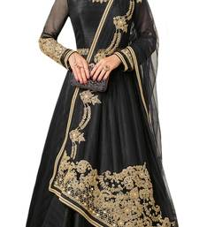 Buy Black Embroidered Silk unstitched salwar with dupatta anarkali-salwar-kameez online