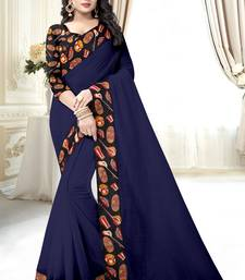 Buy Navy blue plain chanderi saree with blouse light-weight-saree online