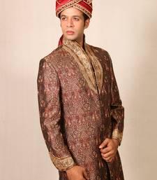 Buy brown with khakee brocade embroidered sherwani sherwani online