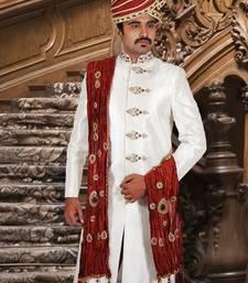 Buy cream premium silk brocade embroidered sherwani men-festive-wear online