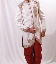 Buy off white zari brocade sherwani men-festive-wear online