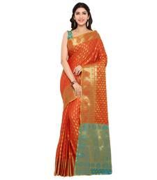 Buy orange woven silk saree with blouse silk-saree online