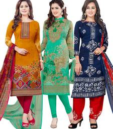 Buy multicolor printed synthetic unstitched combo salwar kameez with dupatta salwar-combo online