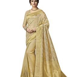 Buy Cream Banarsi Silk Jacqaurd saree with blouse banarasi-silk-saree online