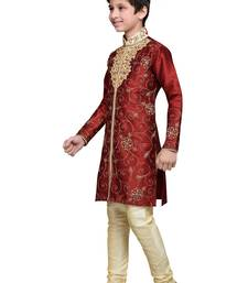Buy Maroon art silk kids kurta pyjama for boys boys-kurta-pyjama online