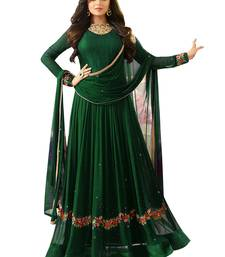 Buy Green embroidered faux georgette salwar semi-stitched-salwar-suit online