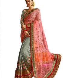 Buy Grey embroidered brocade saree with blouse brocade-saree online