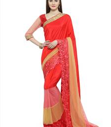 Buy Red embroidered bemberg saree with blouse bemberg-saree online