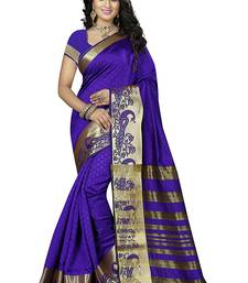 Buy Blue block print linen saree with blouse linen-saree online