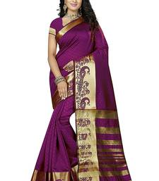 Buy Purple block print linen saree with blouse linen-saree online