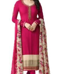 Buy Pink embroidered crepe salwar festive-salwar-suit online