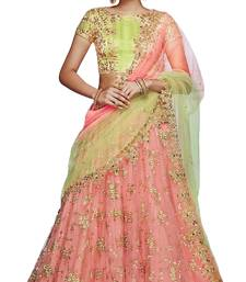 Buy Light red embroidered net unstitched lehenga ghagra-choli online
