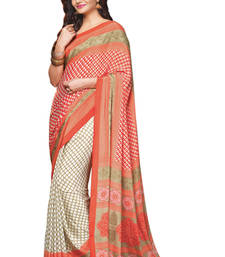 Buy Orange Printed crepe Saree With Blouse crepe-saree online