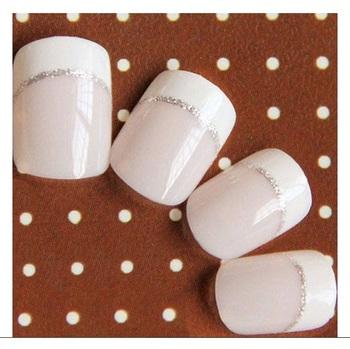 Shimmer 'n sparkle, new fashion light pink short design false nails decoration .decals tips